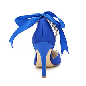 Blue Bow Bridesmaid Shoes Stiletto Heel Wedding Shoes