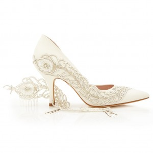 Women's White Stiletto Heel Dorsay Pumps Pointed Toe Bridal Heels
