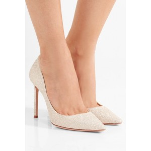Champagne Low-cut Uppers Stiletto Heel Wedding Shoes