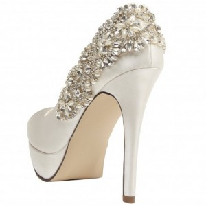 White Rhinstone Embelishment Peep Toe Platform Stiletto Heel Wedding Shoes