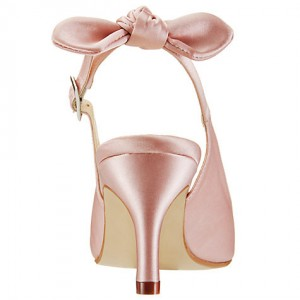 8e954b33578 ... Pink Wedding Heels Slingback Kitten Heels Satin Pumps for Bridesmaid