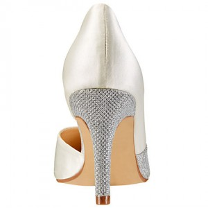 Women's White Stiletto Heel Dorsay Pumps Pointed Toe Bridal Shoes