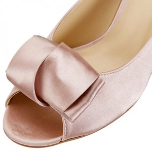 Pink Wedding Heels Peep Toe Satin Pumps with Bow