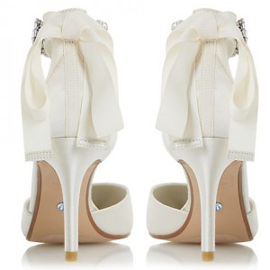 Women's White Low-cut Uppers Rhinestone Ankle Strap Stiletto Heel Wedding Shoes