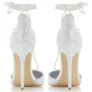 Women's Silver Glitter Strappy Stiletto Heels Pumps Bridal sandals
