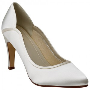Women's White Low-cut Uppers Satin Pumps Bridal Heels