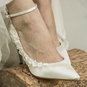 Women's White Satin Romantic Dorsay Pumps Ankle Strap Wedding Shoes
