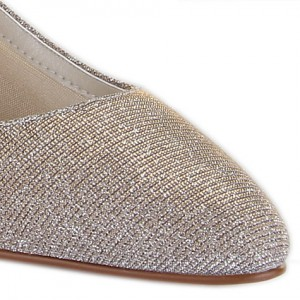 Women's Champagne Low-cut Uppers Glitter Kitten Heel  Pumps Bridal Heels
