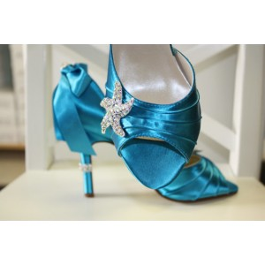 Blue Wedding Heels Satin Starfish Rhinestone Bow Pumps for Brides
