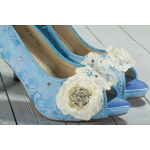 Women's Blue Satin Lace Peep Toe Stiletto Heel Pumps Bridal Heels