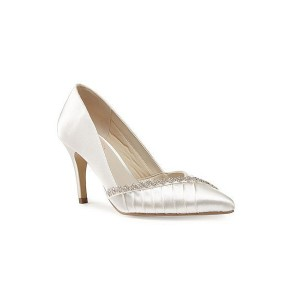 Women's White Pointed Toe Low-cut Uppers Satin Rhinestone Stiletto Heel Pumps Bridal Heels