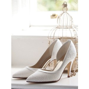 Women's White Stiletto Heel Dorsay Pumps Lace Bridal Shoes