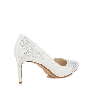 White Bridal Heels Satin Rhinestone Pointy Toe Stiletto Heel Dorsay Pumps