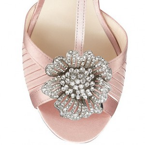 Women's Pink Satin T-Strap Sandals Bridesmaid Stilettos Bridal Sandals