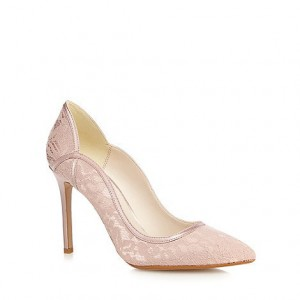 Women's Pink Low-cut Uppers Pencil Heel  Lace Pumps Bridal shoes