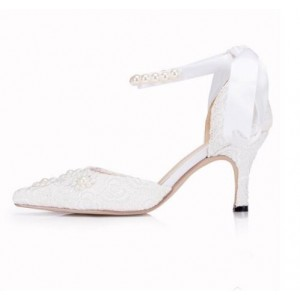 Women's White Low-cut Uppers Ankle Strap Mid-heel Wedding Shoes