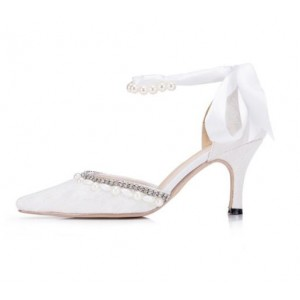 Women's White Bow Low-cut Uppers Pearl Ankle Strap Bridal Heels