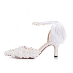 Women's White Bow Lace Pearl Ankle Strap Wedding Shoes