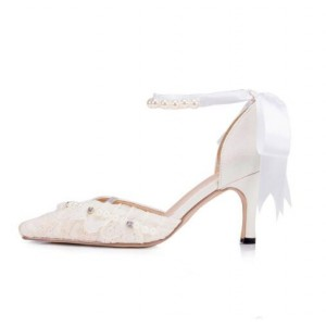 Women's White Bow Lace Pearl Ankle Strap Kitten Heel Bridal Shoes