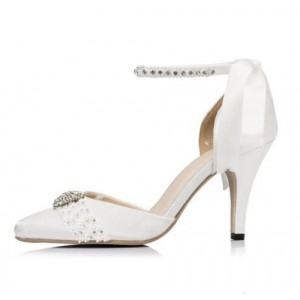 White Bridal Heels Satin Ankle Strap Wedding Shoes