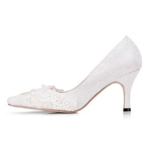 White Bridal Shoes Lace Heels Pointy Toe Pumps for Wedding