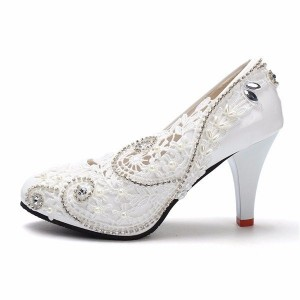 Women's White Floral Lace Rhinestone Bridal Shoes