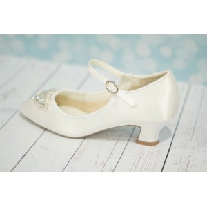 White Wedding Heels Satin Vintage Mary Jane Pumps for Bridesmaid