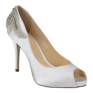 Women's White Satin Peep Toe Stiletto Pencil Heel Bridal Shoes