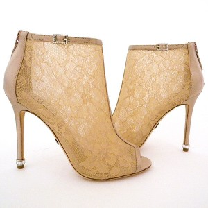 Women's Pencil Heel Nude Lace Ankle Boots Bridal Shoes