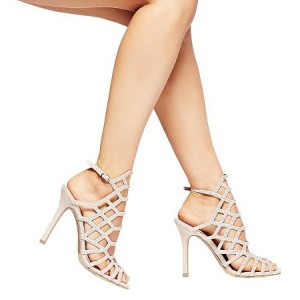 Women's Stiletto Heel Nude Hollow-out Sandals Wedding Shoes