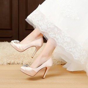 Women's Champagne Low-cut  Rhinestone Stiletto Heel Pumps Round Toe Wedding Shoes