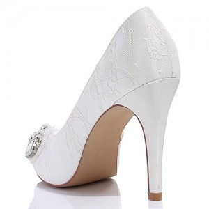 White Bridal Shoes Platform Lace Heels with Rhinestones for Wedding