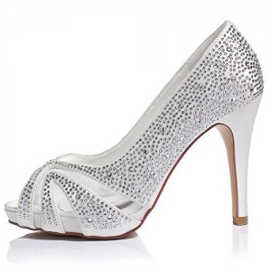 Women's Silver Wedding Shoes Peep Toe Heels Rhinestone Platform Pumps