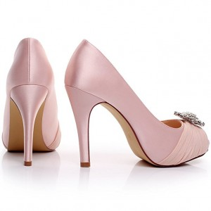 Women's Pink Rhinestone Stiletto Heel Pumps Peep Toe Wedding Shoes