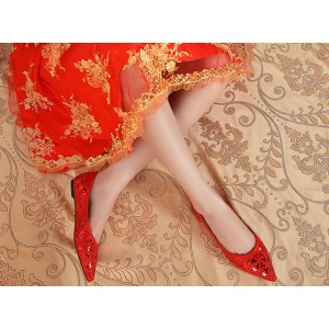 Women's Red Rhinestone Floral Sequins Flat Wedding Shoes