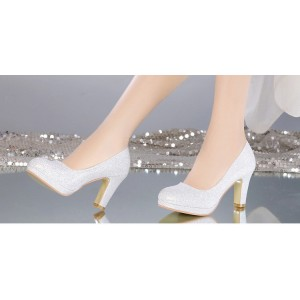 Women's White Round-toe Vintage Heel Comfortable Wedding Shoes