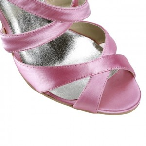 Pink Wedding Heels Open Toe Satin Cross-over Strap Sandals for Bridesmaid