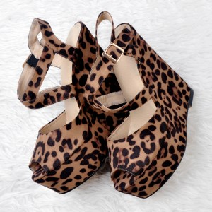 Leopard-print Sandals Peep Toe Platform Wedge Heel Shoes
