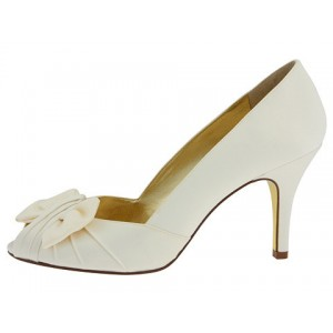 Women's White Satin Bow Peep toe Stiletto Heel Wedding Shoes