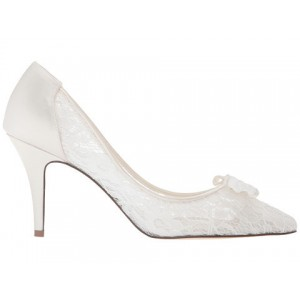 White Bridal Shoes Lace Heels Pointy Toe Pumps with Bow for Wedding