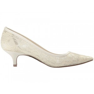 Ivory Wedding Shoes Lace Heels Pointy Toe Kitten Heel Pumps