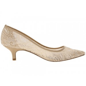 Women's Beige Lace Low-cut Pointed Toe Pencil Heel Pumps Bridal Heels