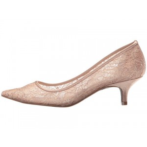 Women's Champagne Lace Low-cut Pointy Toe Stiletto Heel Bridal Shoes