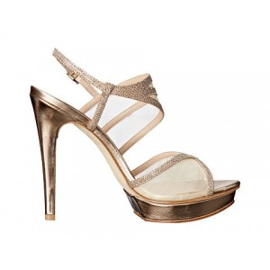 Women's Golden Strappy Sandals Slingback Stiletto Heels Bridal Shoes