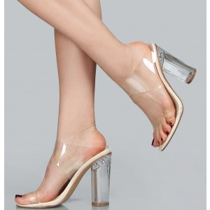 Clear Heels Open Toe Block Heel Mule Sandals