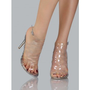 Women's Transparent Sexy Hollow Out Ankle Straps Stiletto Heel Pumps