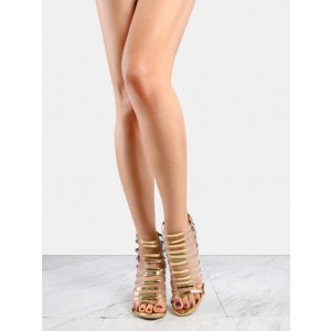 Women's Luxury Golden Stripes Open Toe Stiletto Heel Sandals Pumps
