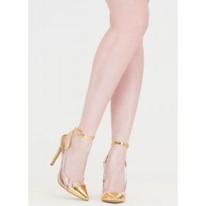 Women's Golden Transparent Pointed Toe Ankle Strap Stiletto Heel Pumps
