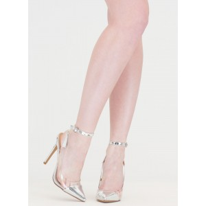 Women's Silver Transparent Pointy Toe Ankle Strap Stiletto Heel Pumps