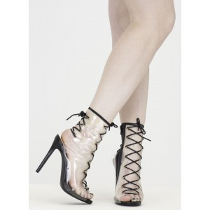 Clear Summer Boots Lace up Slingback Stiletto Heel Ankle Booties